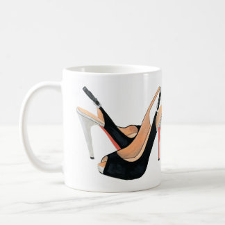 """Will work for shoes"" black heels coffee mug"