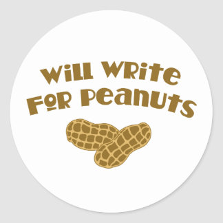 Will Write for Peanuts Stickers
