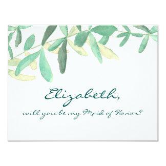 Will yo Be my Maid of Honor Modern Botanical Card