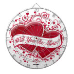Will You Be Mine? Red Hearts Dartboard