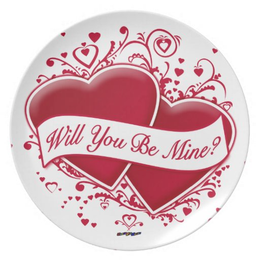 Will You Be Mine? Red Hearts Dinner Plate