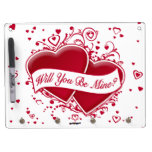 Will You Be Mine? Red Hearts Dry Erase Whiteboard