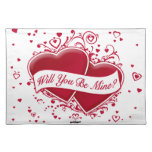 Will You Be Mine? Red Hearts Placemat
