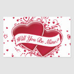 Will You Be Mine? Red Hearts Rectangle Sticker