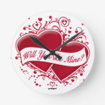 Will You Be Mine? Red Hearts Wallclock