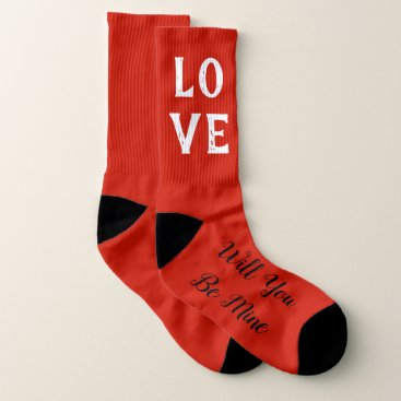 Beach Themed Will You Be Mine Valentine Wedding Party Socks
