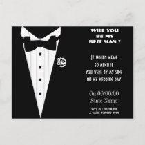 will you be my best man ? be my groomsmen invitation postcard