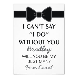 Will You Be My Best Man Black Bow Tie 4.5x6.25 Paper Invitation Card