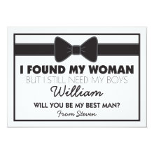 Will You Be My Best Man Black White Bow Tie Cards