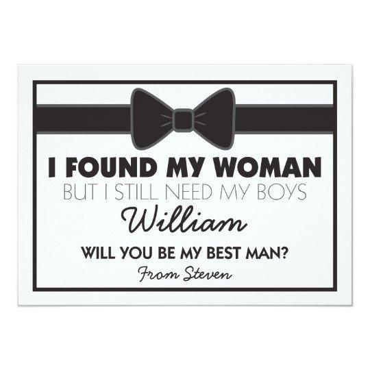 will you be my best man black white bow tie invitation zazzle com