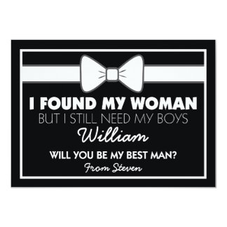 Will You Be My Best Man Black White Bow Tie Invitation