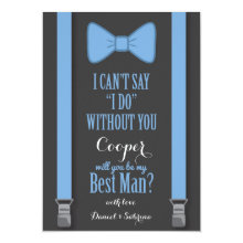 Will You Be My Best Man - Blue Tie Braces Cards