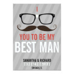 """Will you be my Best Man Geek Glasses invite 5"""" X 7"""" Invitation Card"""
