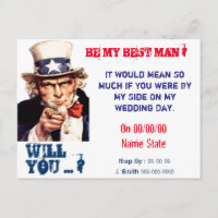 will you be my best man,groomsman invitation postcard
