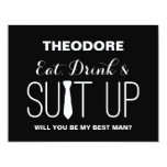 Will you be my Best Man ?   Groomsmen 4.25x5.5 Paper Invitation Card