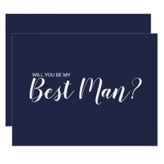 Will You Be My Best Man? Modern Script Navy Blue Invitation