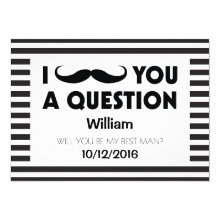 Will You Be My Best Man Moustache Black Stripes Cards