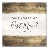 Will You Be My Best Man Rustic Wood Farm Wedding Invitation