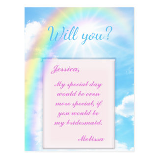 Will You Be My Bridesmaid? A Perfect Day Postcard