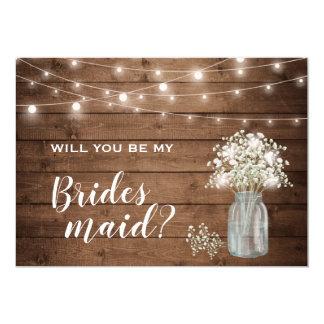 Will You Be My Bridesmaid Baby's Breath Mason Jar Invitation