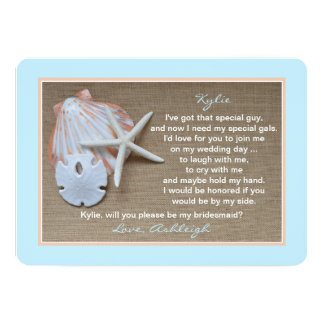 Will You Be My Bridesmaid Beach Blue Burlap Look Card