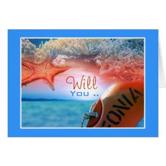 Will you be my bridesmaid? beach theme card
