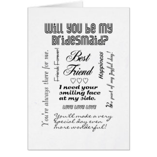 Will You Be My Bridesmaid Best Friend Greeting Cards