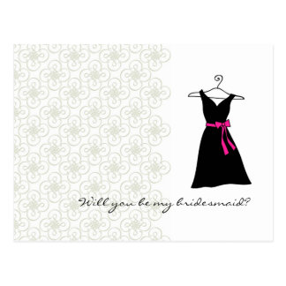 Will You Be My Bridesmaid : Black/Pink Dress Postcard