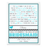 Will you be my Bridesmaid? Blue/Black Poem NIECE 4.25x5.5 Paper Invitation Card