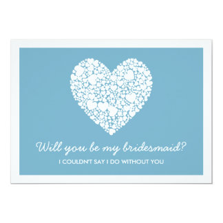 Will You Be My Bridesmaid? Blue Heart Card