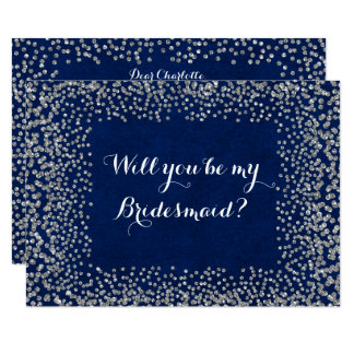 Will You Be My Bridesmaid Blue Navy Silver Gray Card