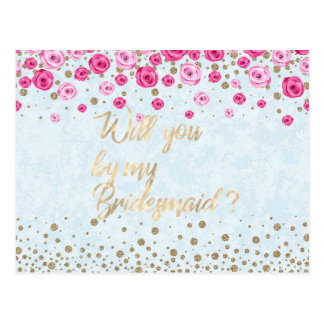 Will You Be My Bridesmaid Blue Pink Roses Confetti Postcard