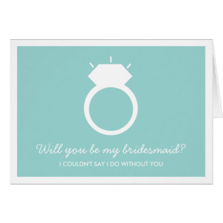 Will You Be My Bridesmaid? Blue Ring Card