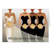 Will you be my Bridesmaid? Bridal Party black Card