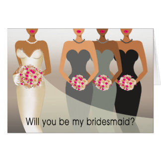 Will you be my Bridesmaid? Bridal Party | charcoal Card