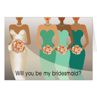 Will you be my Bridesmaid? Bridal Party | green Greeting Cards
