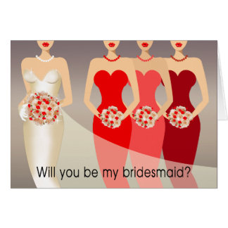 Will you be my Bridesmaid? Bridal Party | red Greeting Cards