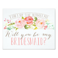 girly light and fresh pink flower on clean white Bridesmaid Invitation Card