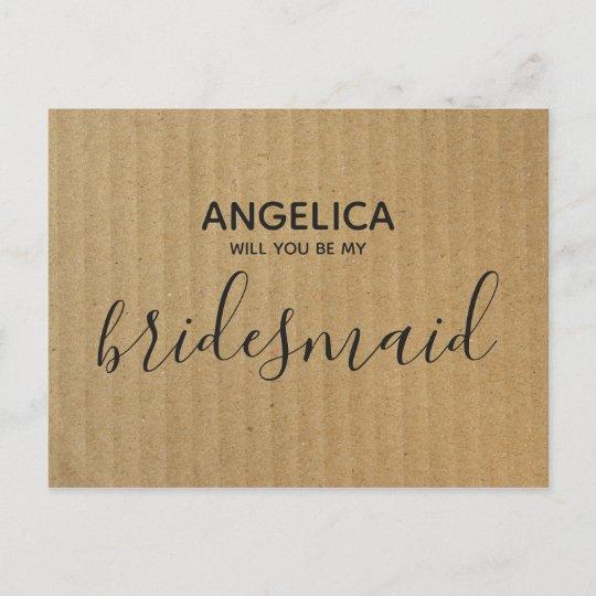 Will You Be My Bridesmaid Brown Kraft Paper Invitation Postcard