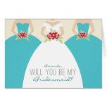 Will You Be My Bridesmaid Card (aqua)