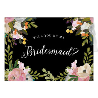 Will You Be My Bridesmaid Card Black Floral