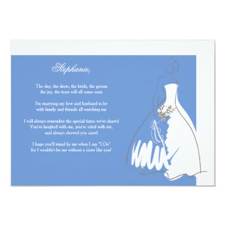 Will You Be My Bridesmaid Card Blue/White