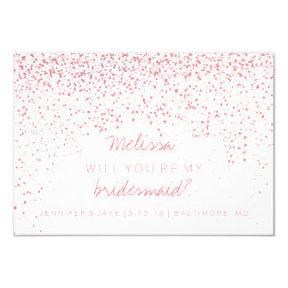 Will You Be My Bridesmaid Card - Confetti Pink