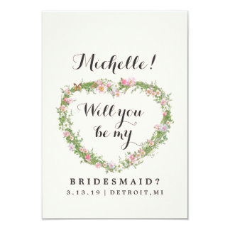 Will You Be My Bridesmaid Card - Floral Heart