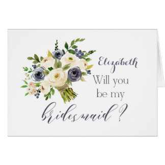 Will you be my bridesmaid card French blue floral