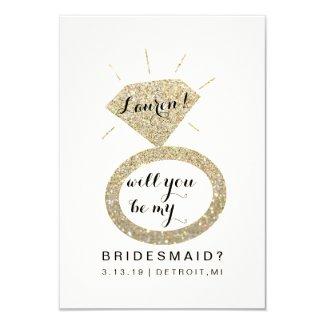 Will You Be My Bridesmaid Card - Glit Diamond FabW