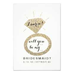 Will You Be My Bridesmaid Card - Glit Diamond FabW