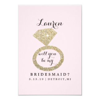 Will You Be My Bridesmaid Card - Glit Ring Bling