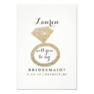 Will You Be My Bridesmaid Card - Glit Ring Bling W