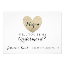 Will You Be My Bridesmaid Card-Glitter Heart's Fab Invitation
